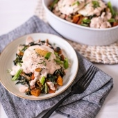 Twisted Soul's Chicken Hash with kale, peppers, sweet potatoes & skillet poached eggs
