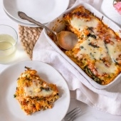 Spinach & Ricotta Lasagna with butternut, fried sage, and Frik & Frak tomato sauce