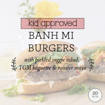 Banh Mi Burgers with pickled veggie salad, TGM baguette & rooster mayo