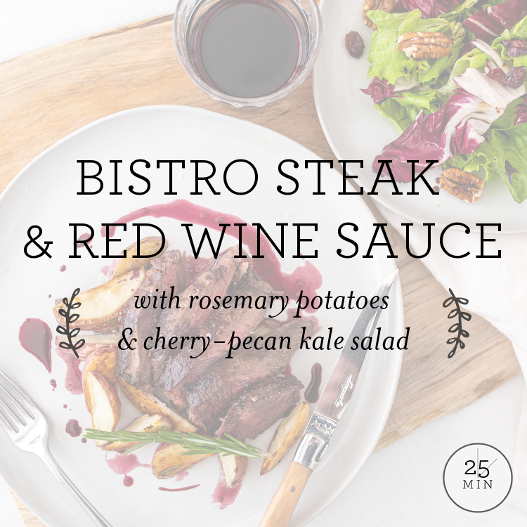 Bistro Steak with red wine sauce, rosemary potatoes & cranberry salad