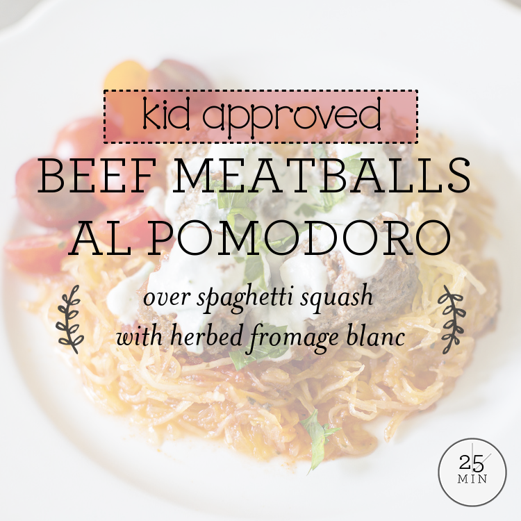 Beef Meatballs Al Pomodoro over spaghetti squash with herbed fromage