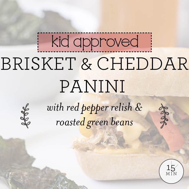 Brisket & Cheddar Panini with red pepper relish & roasted green beans