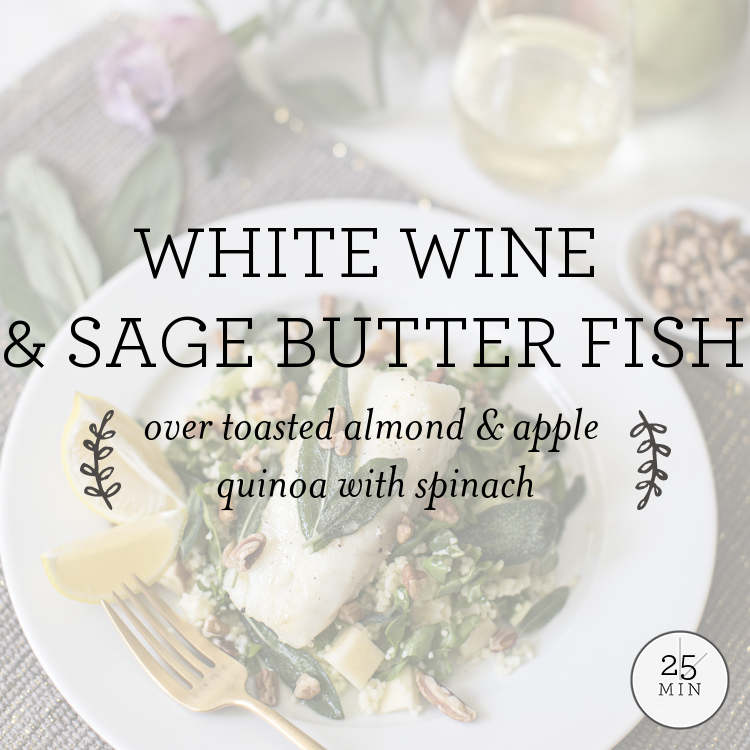 Sage-Butter Dover Sole over toasted pecan & apple quinoa with swiss chard