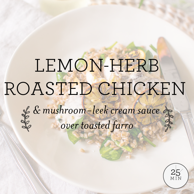 Lemon-Dill Roasted Chicken with creamy mushroom & leek sauce over toasted farro