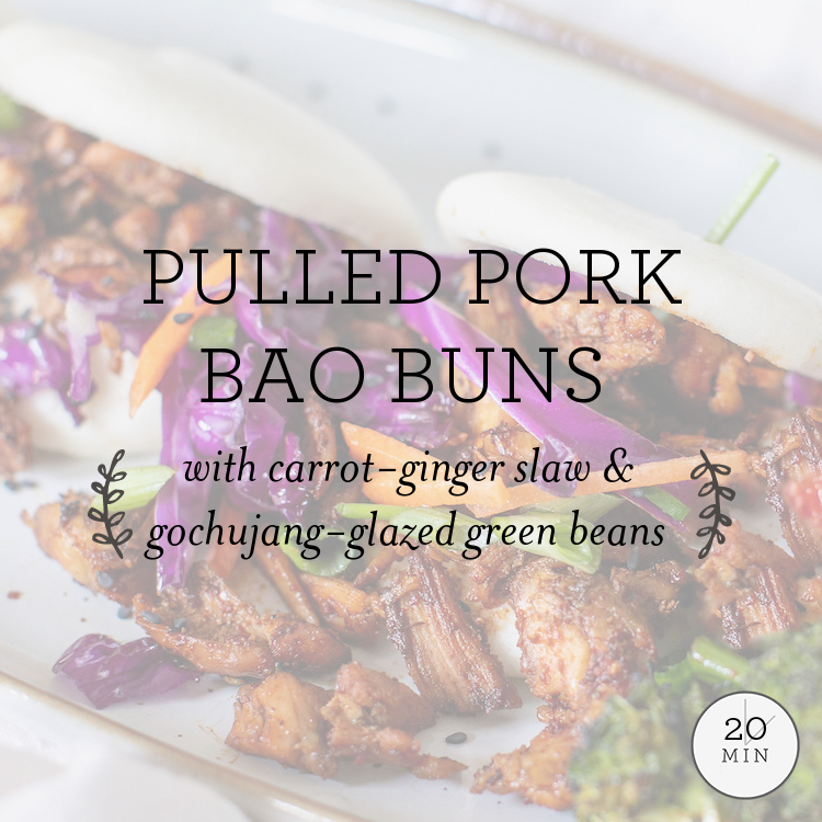 Pulled Pork Bao Buns with carrot-ginger slaw & gochujang-glazed broccoli