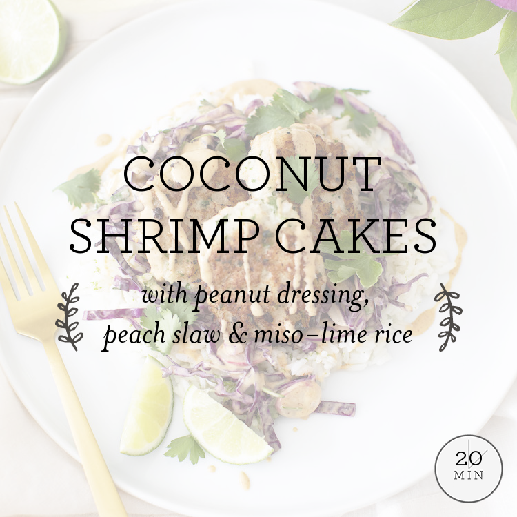 Coconut Shrimp Cakes with homemade peanut dressing, slaw & lime rice