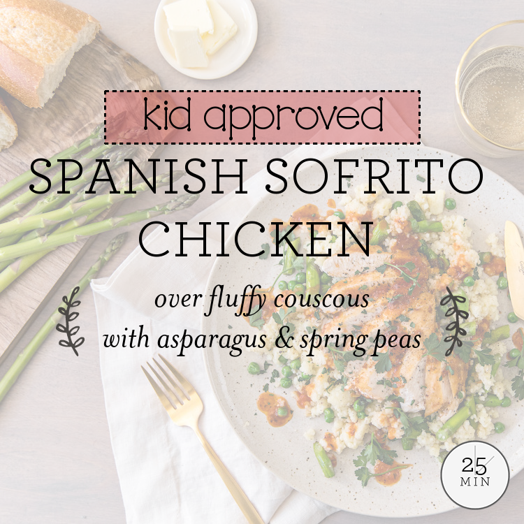 Spanish Sofrito Chicken over fluffy couscous with asparagus & spring peas