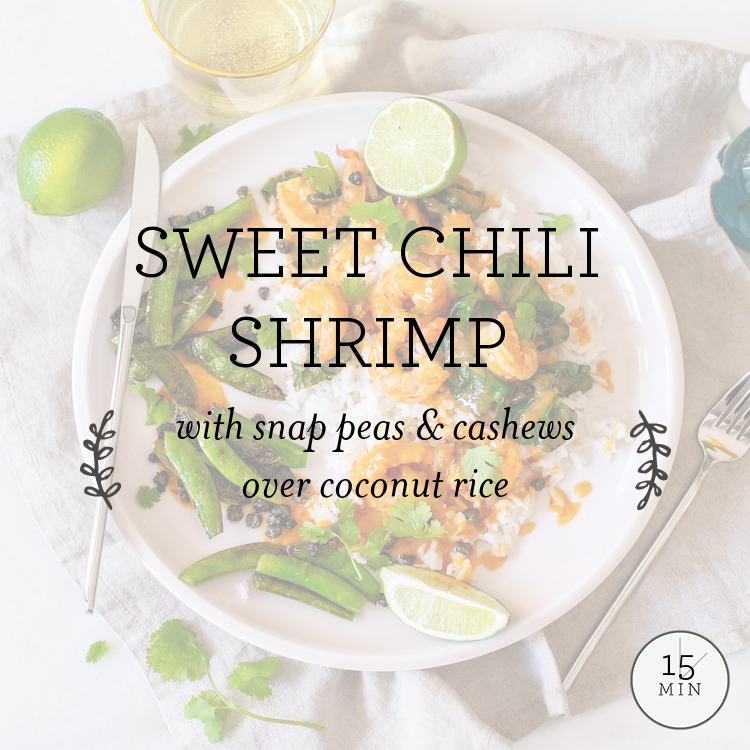 Sweet Chili Shrimp with crispy garlic-caper snap peas over coconut rice