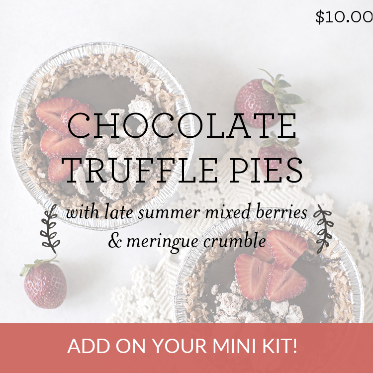 Chocolate Truffle Pies with strawberries & meringue crumble