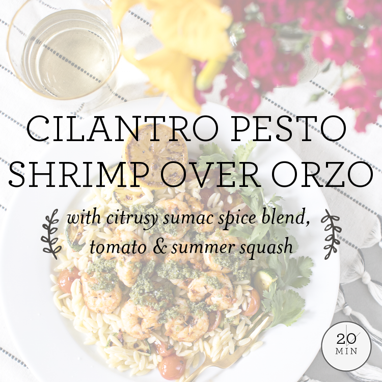 Cilantro Pesto Shrimp over orzo with tomato, zucchini & kalamata olives