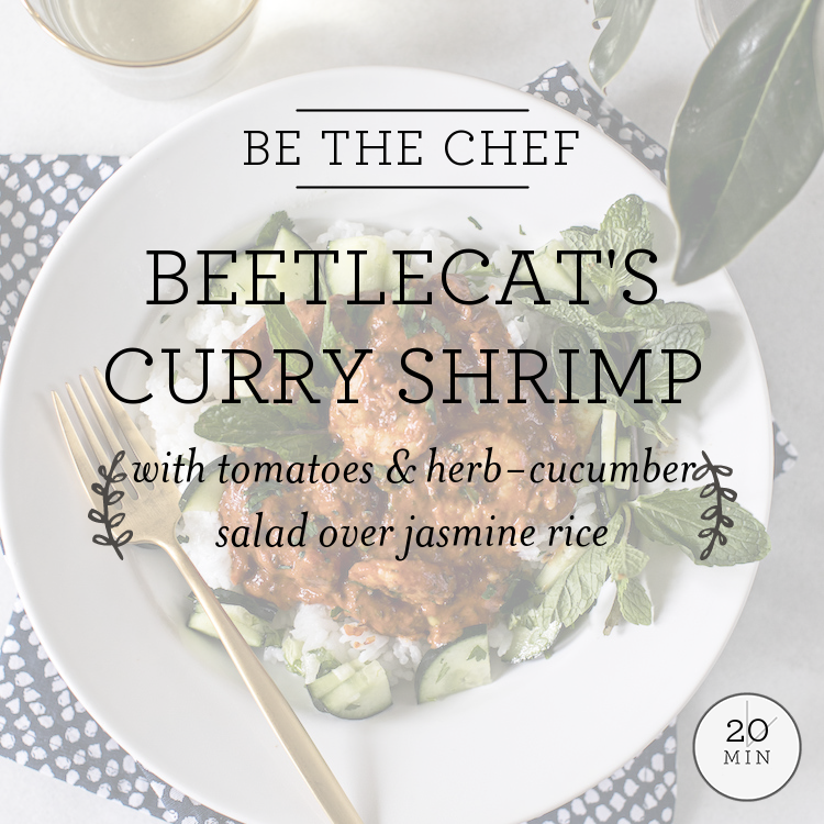 Beetlecat's Curry Shrimp with tomatoes & herb-cucumber salad over jasmine rice