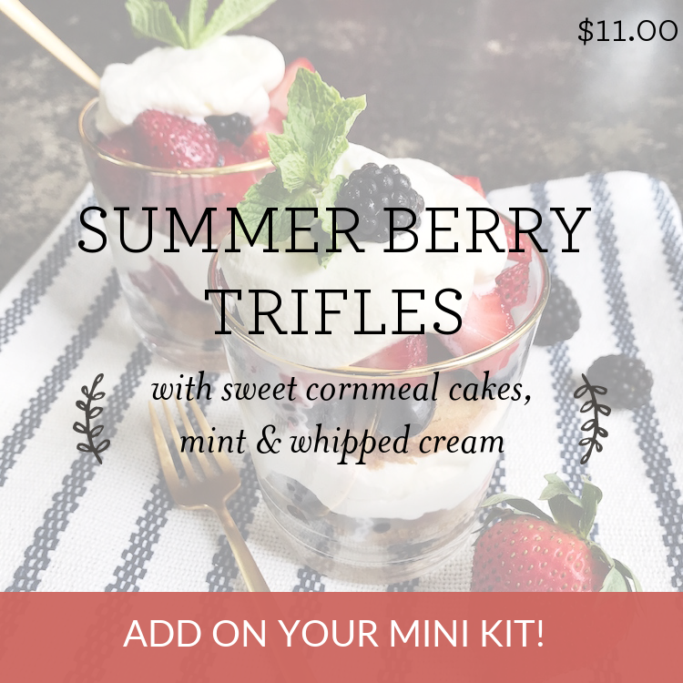 Summer Berry Trifles with sweet cornmeal cakes, mint & whipped cream