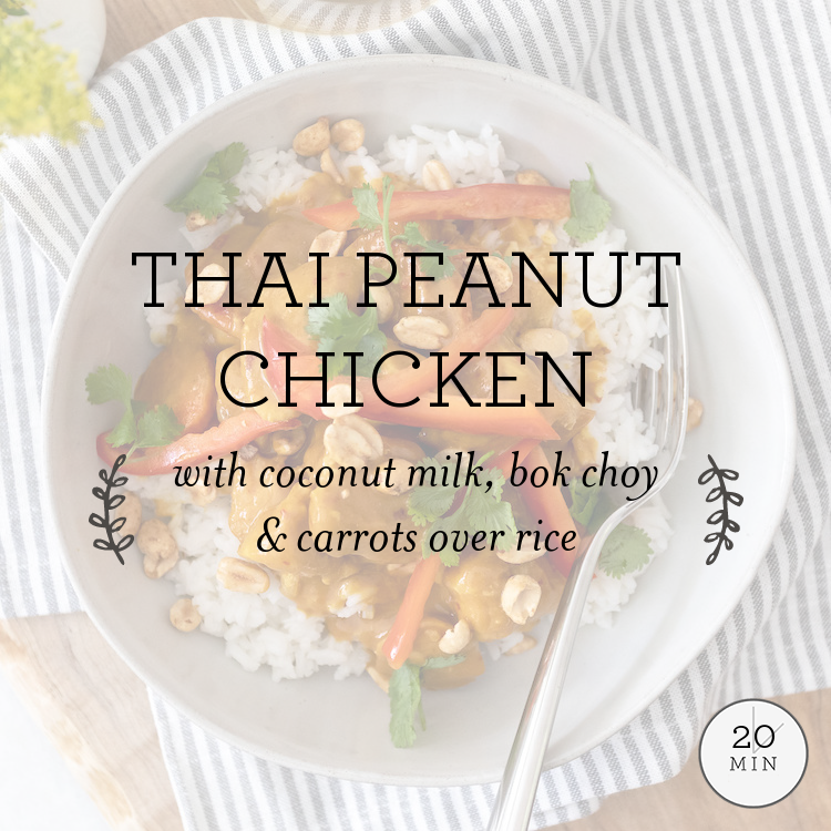 Thai Peanut Chicken with coconut milk, bok choy & carrots over rice