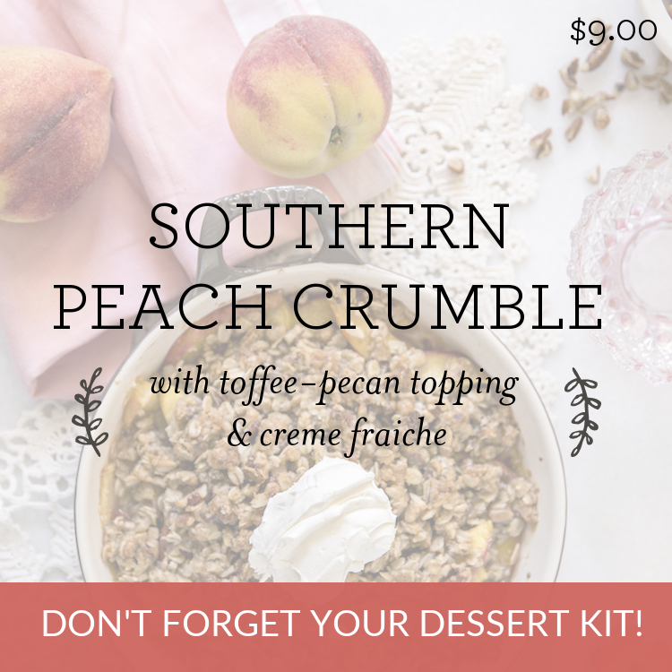 Southern Peach Crumble with toffee-pecan topping & creme fraiche