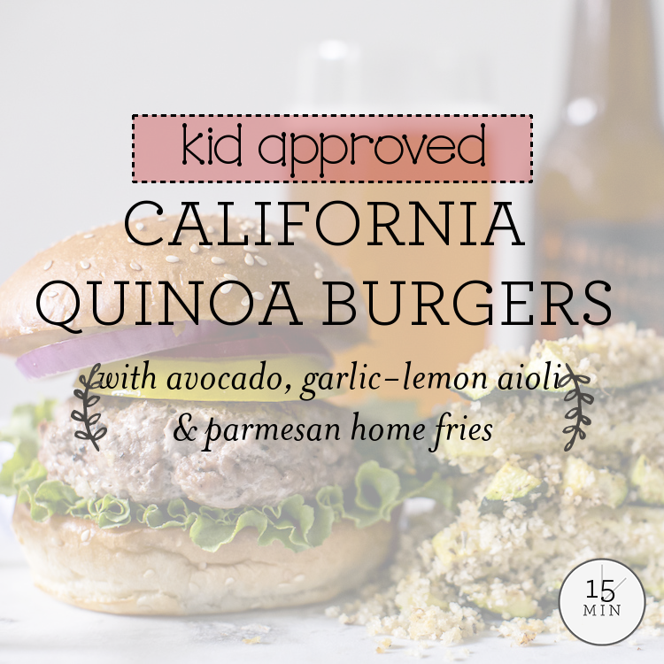 California Quinoa Burgers with avocado, garlic-lemon aioli & parmesan home fries