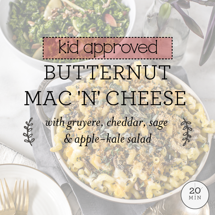 Butternut Mac 'N' Cheese with gruyere, cheddar, sage & apple-kale salad
