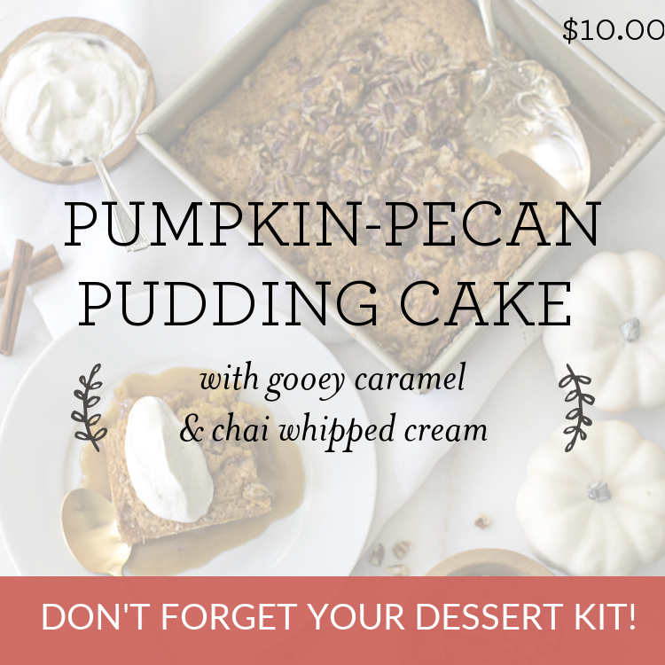 Pumpkin-Pecan Pudding Cake with gooey caramel & chai whipped cream