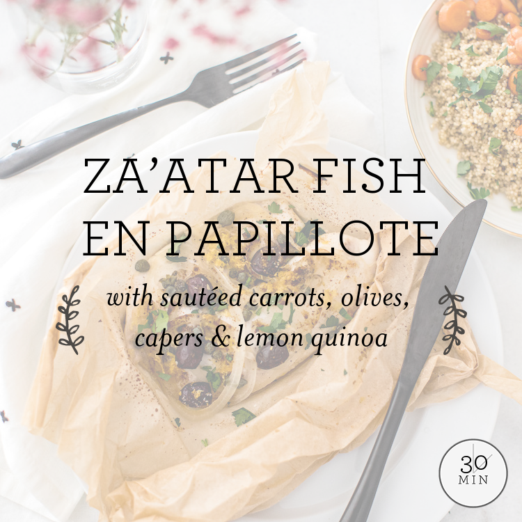 Za'atar Fish En Papillote with sautéed carrots, olives, capers & lemon quinoa