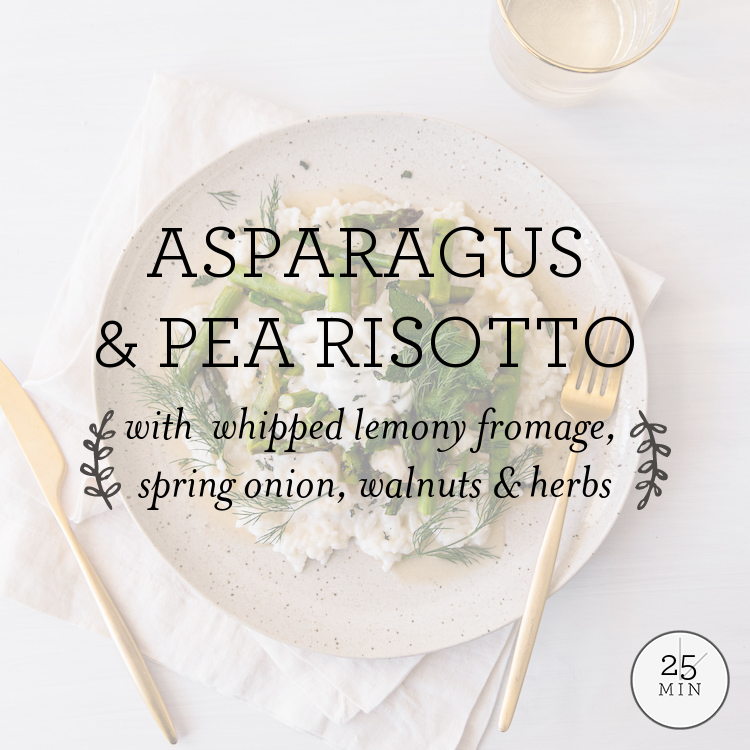 Asparagus & Pea Risotto with whipped lemony fromage, spring onion, walnuts & herbs