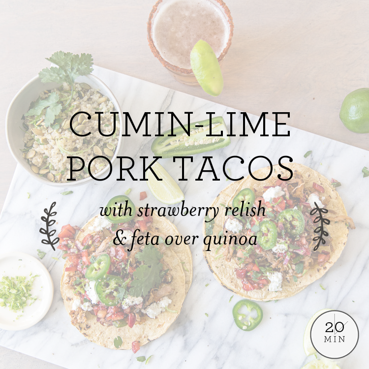 Cumin-Lime Pork Tacos with strawberry relish & goat cheese over quinoa