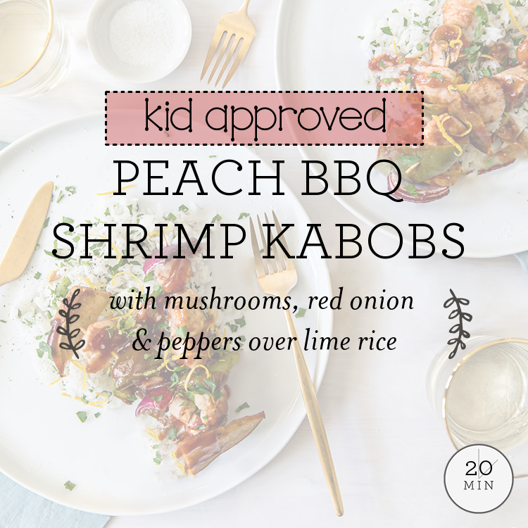 Peach BBQ Shrimp Kabobs with mushrooms, red onion & peppers over lime rice