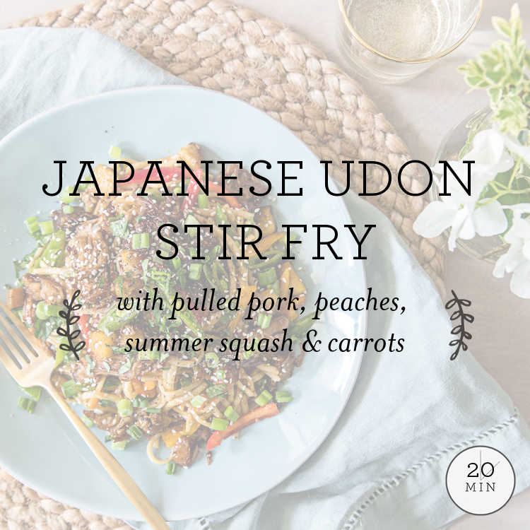 Japanese Udon Stir Fry with pulled pork, peaches, patty pan squash & snap peas