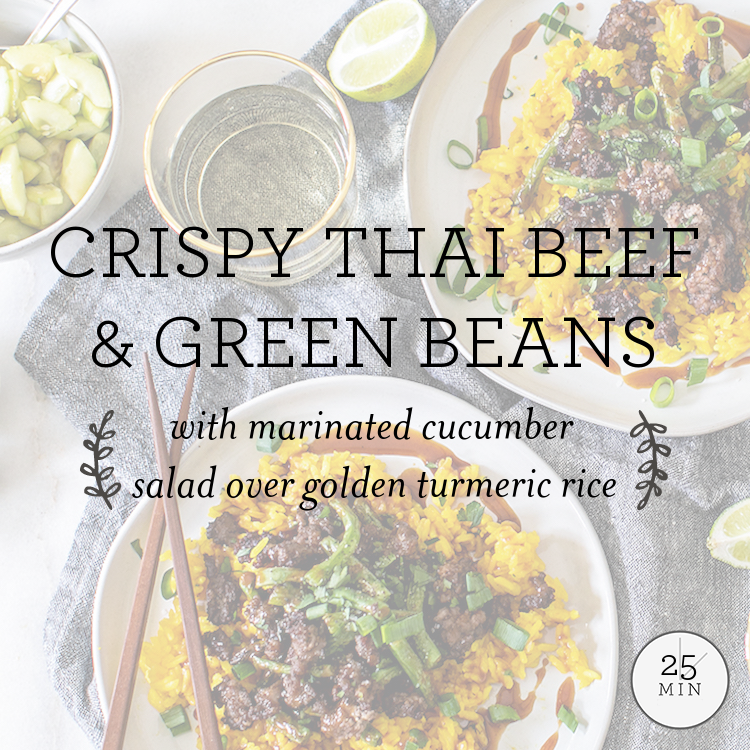 Crispy Thai Beef & Green Beans with marinated cucumber salad over golden turmeric rice
