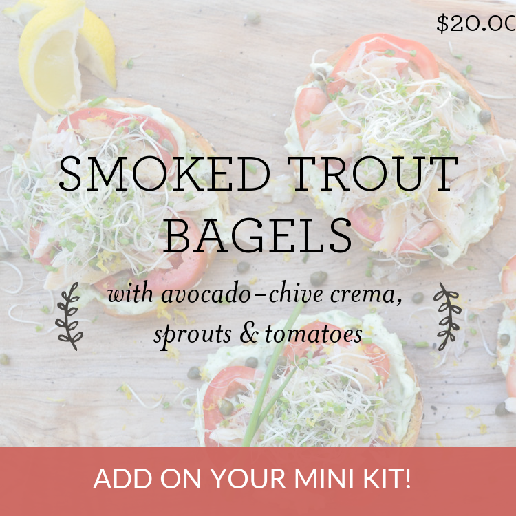 Smoked Trout Bagels with Avocado Chive Crema, Sprouts & Tomatoes