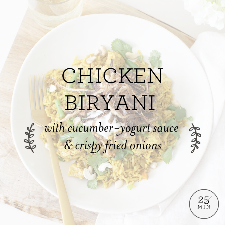 Chicken Biryani with cucumber-yogurt sauce & crispy fried onions