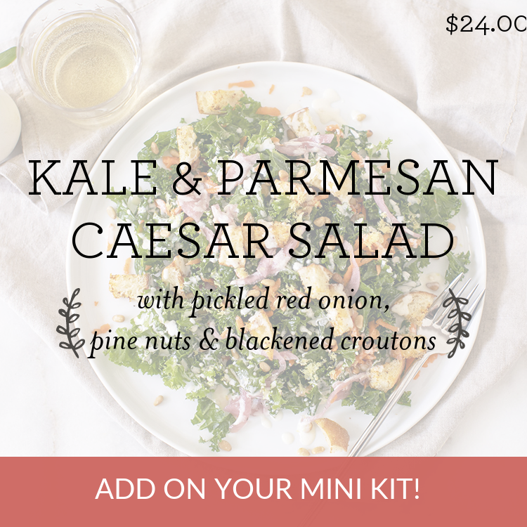 Kale & Parmesan Caesar Salad with pine nuts, pickled red onion & blackened croutons