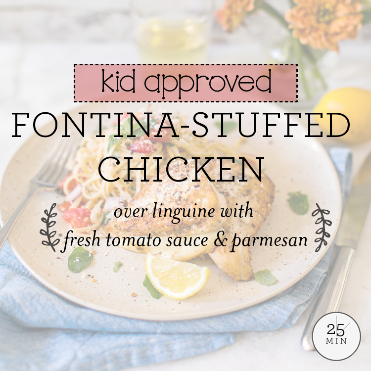 Fontina-Stuffed Chicken over linguine with fresh tomato sauce & parmesan