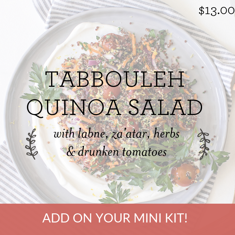 Tabbouleh Quinoa Salad with labne, za'atar, herbs & drunken tomatoes