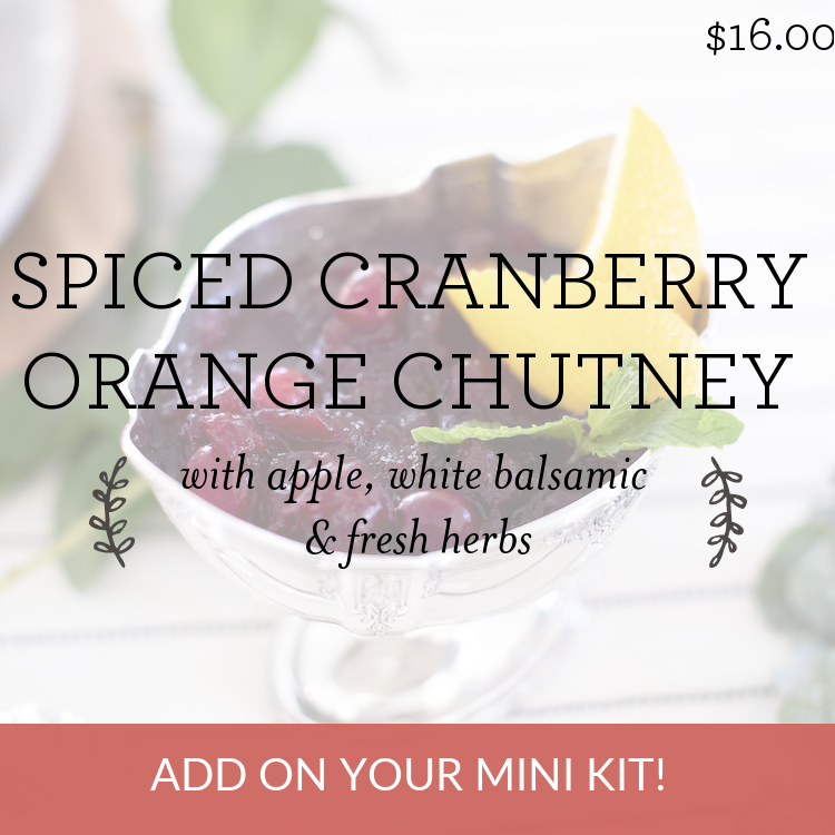 Spiced Cranberry Orange Chutney with apple, white balsamic & fresh herbs
