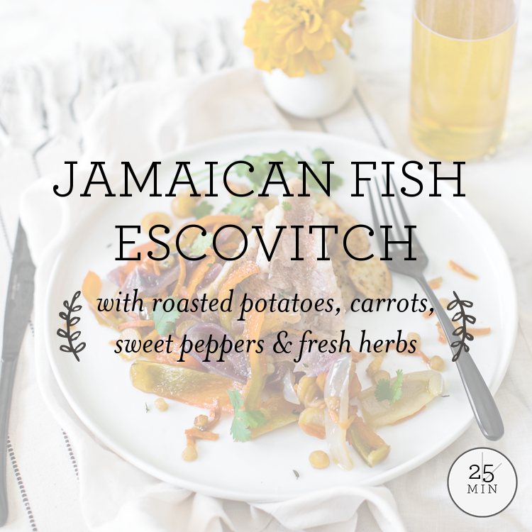 Caribbean Redfish with roasted potatoes, peppers & escovitch sauce