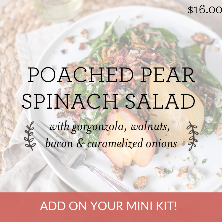 Poached Pear Spinach Salad with gorgonzola, walnuts, bacon & caramelized onions