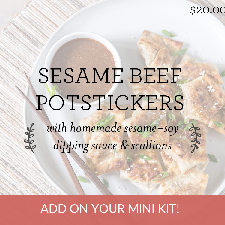 Sesame Beef Potstickers with homemade sesame-soy dipping sauce & scallions