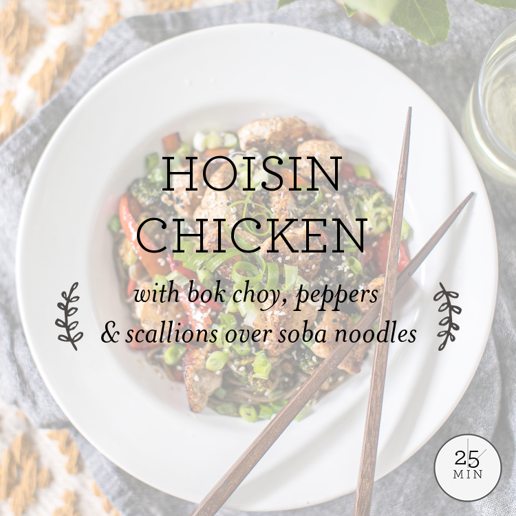 Hoisin Chicken with broccoli, peppers, & scallions over soba noodles