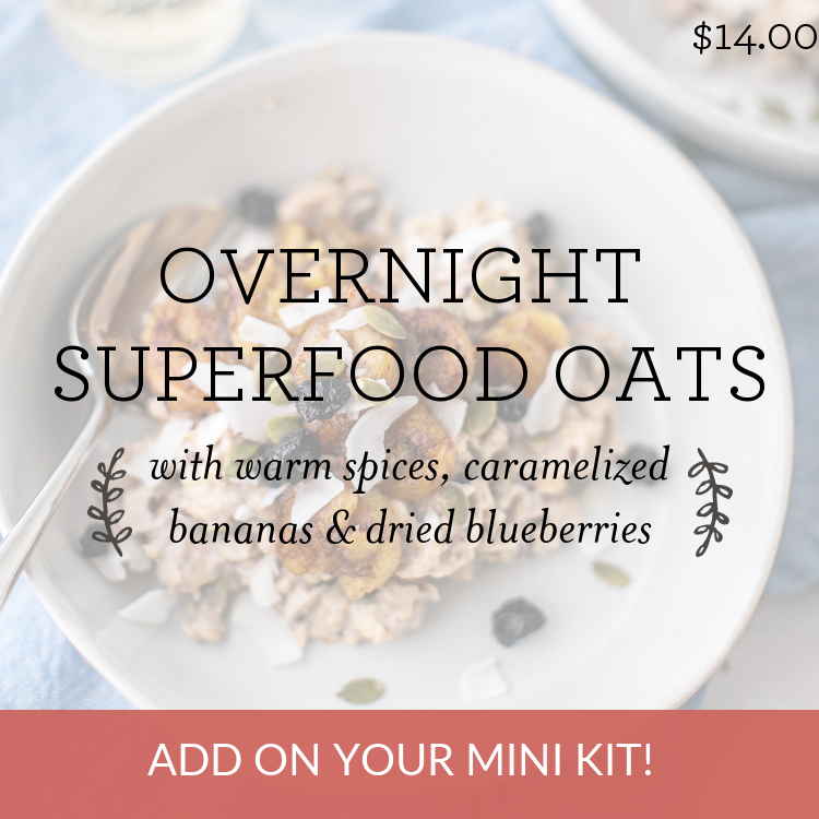 Overnight Superfood Oats with warm spices, caramelized bananas & dried blueberries