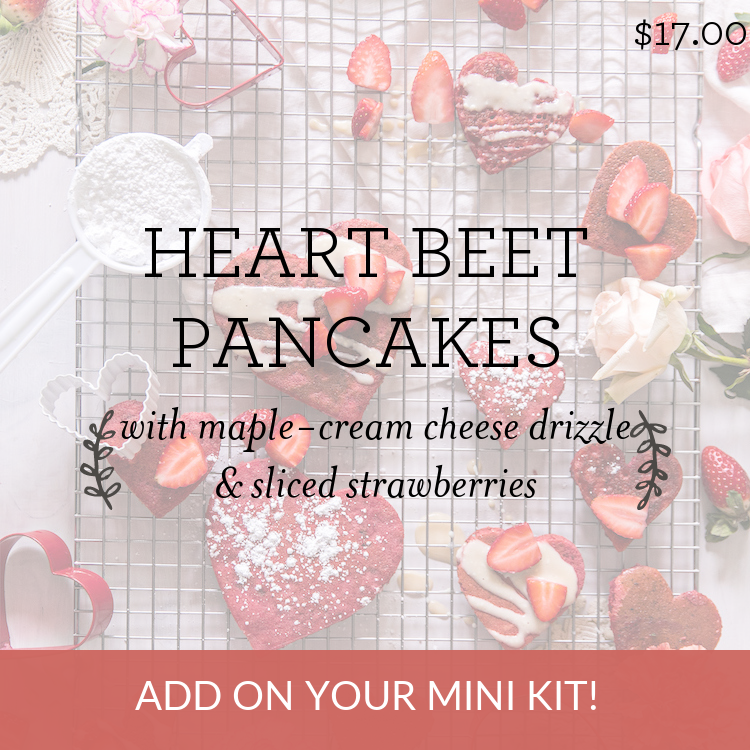 Heart Beet Pancakes with maple-cream cheese drizzle & sliced strawberries