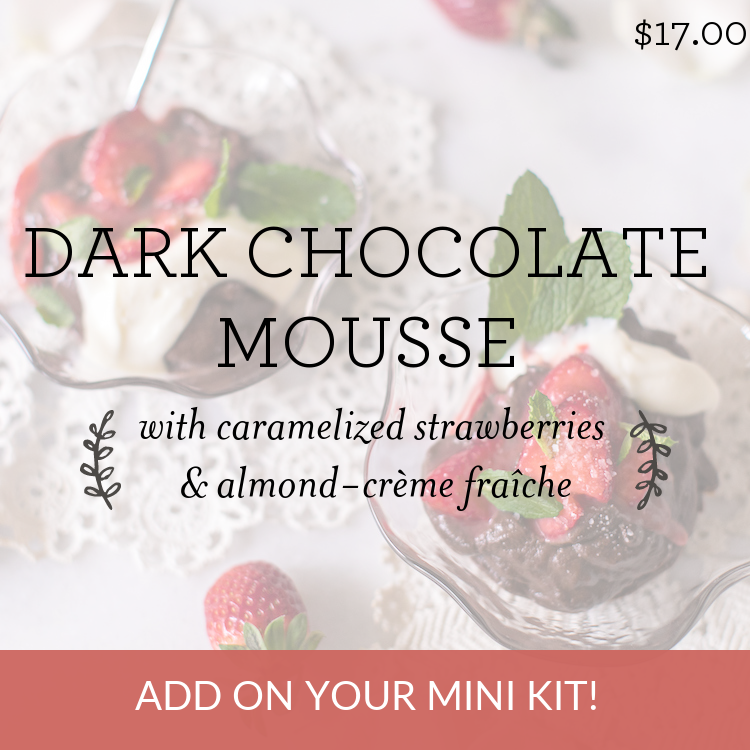 Dark Chocolate Mousse with caramelized strawberries & almond-creme fraiche