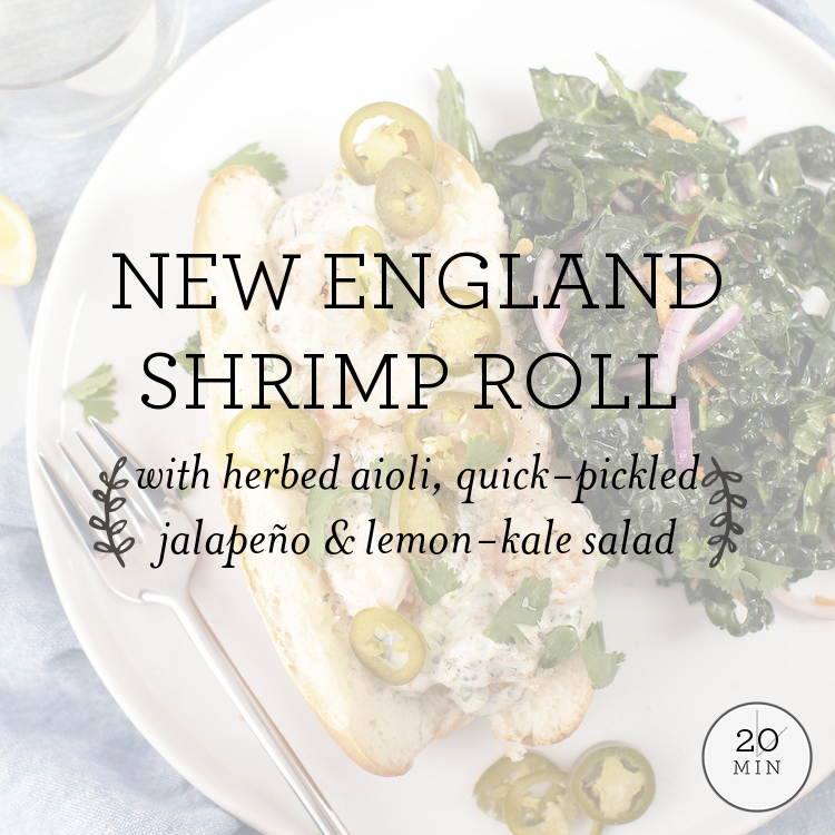 New England Shrimp Roll with herbed aioli, quick-pickled jalapeno & lemon-kale salad
