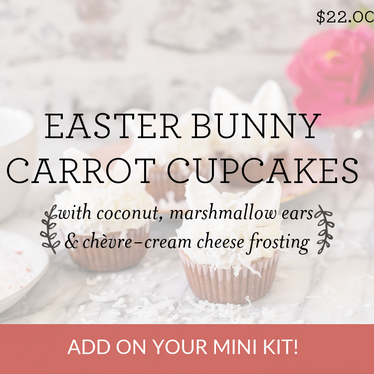 Easter Bunny Carrot Cupcakes with coconut, marshmallow ears & chevre-cream cheese frosting