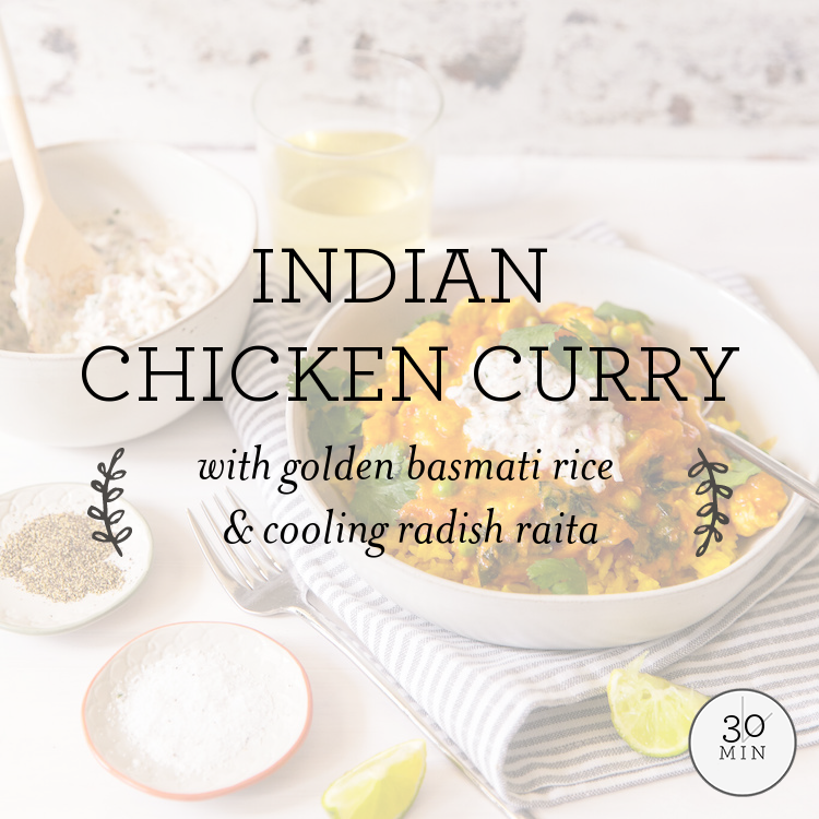 Indian Chicken Curry with golden basmati rice & cool radish raita