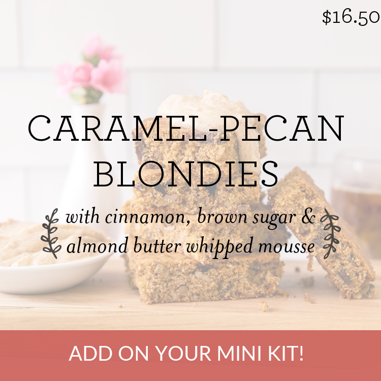 Caramel-Pecan Blondies with cinnamon, brown sugar & almond butter whipped mousse