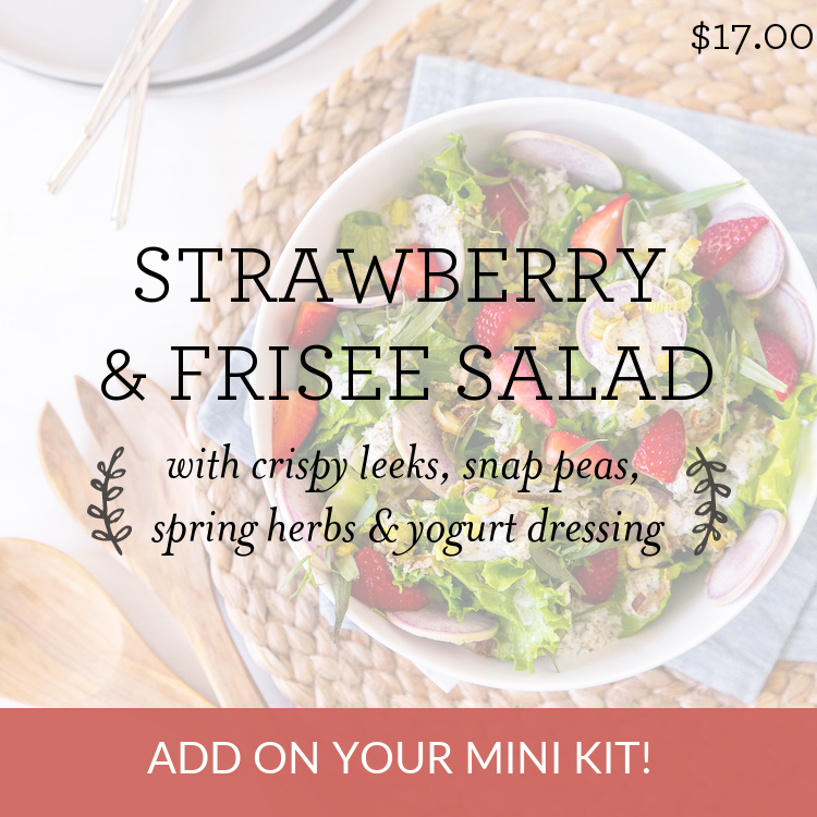 Strawberry & Frisee Salad with crispy leeks, snap peas, spring herbs & yogurt dressing