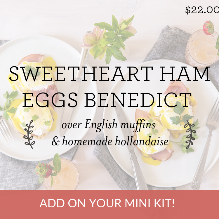 Sweetheart Ham Eggs Benedict over English muffins & homemade hollandaise