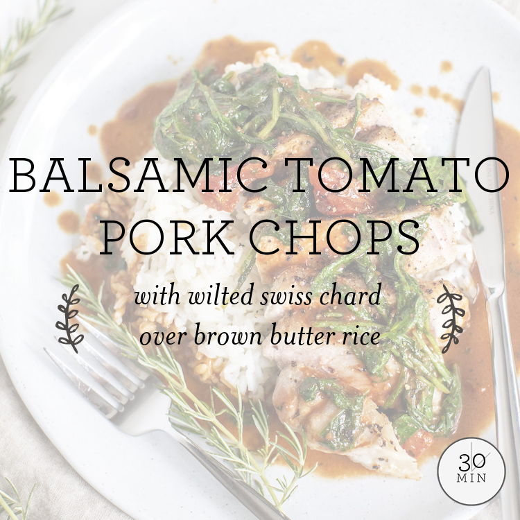Tomato-Cream Pork Chops with wilted arugula over rosemary polenta