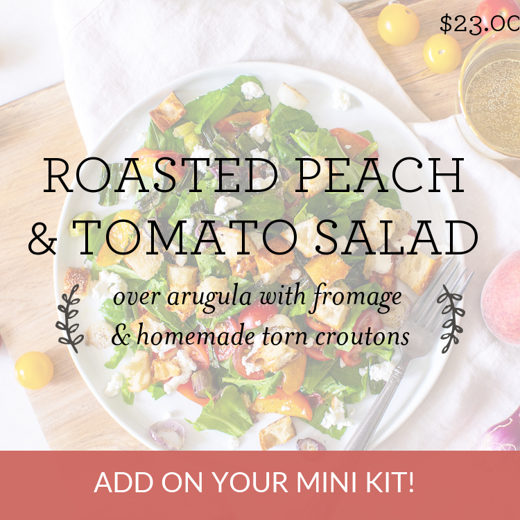 Roasted Peach & Tomato Salad over arugula with fromage & homemade torn croutons