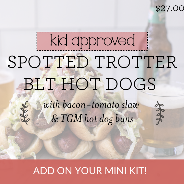 Spotted Trotter BLT Hot Dogs with bacon-tomato slaw & TGM hot dog buns