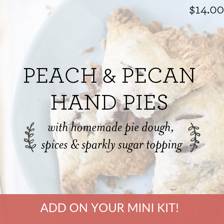 Peach & Pecan Hand Pies with homemade pie dough, spices & sparkly sugar topping